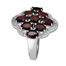 Red Garnet Ring Womens Cluster Ring 925 Sterling Silver Jewelry 4.65 Gms US-10