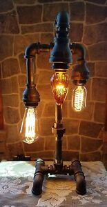 Industrial Pipe Three Tier steampunk style table, desk lamp w/bulbs