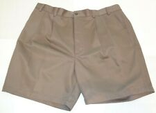 Roundtree & Yorke Size 48 ELASTIC WAIST Brown Cotton Pleated New Mens Shorts