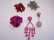 5 x Vintage Ohrringe Clips einzeln Original Muster ungetragen 50er 60er (79)