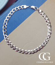 "Men's Ladies Solid 9ct White Gold 6mm Curb Bracelet 8.5"" GIFT BOXED"