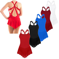 Women Ice Skating Dress Figure Roller Skating Dance Leotard Sleevesless Costume