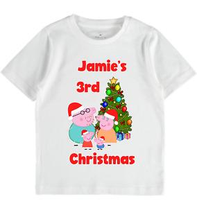 Personalised Peppa Pig Christmas tshirt Girls boys Toddlers clothes shirts tops
