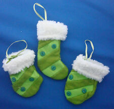 set of 3 Christmas mini stocking & mittens tree ornaments lime green