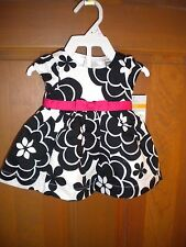 NWT CARTERS NEWBORN GIRLS LINED BLACK & FLOWERS DRESS & DIAPER COVER HOLIDAY