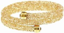 Authentic $89 Swarovski Crystaldust Double Bracelet Golden Size Medium #5237763