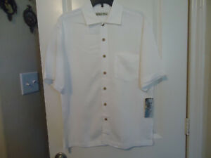 NWT Batik Bay Men's Sz S Hawaiian Shirt Short Sleeve White Button Front Texture