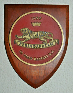 38 (Seringapatam) Field Battery Royal Artillery regimental plaque shield