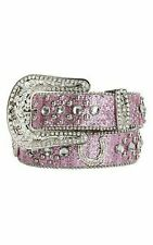 Nocona Western Girls Kids Belt Rhinestones Horseshoe Pink N4411030