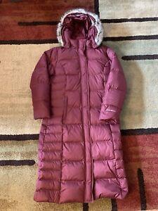Eddie Bauer Women L Parka Goose Down Jacket Lodge Long Winter Coat Red Faux Fur