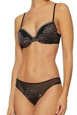 NEW La Perla 2 PC SET PRIVILEGE Thong PANTY & Push up BRA Black Nude Lace 36 B L