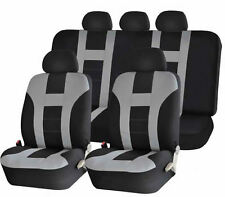 9PC DOUBLE STITCH GRAY & BLACK POLY SEAT COVERS SET for CARS 1023
