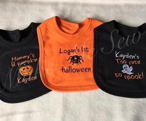 Personalised Baby Toddler Halloween fancy dress Bibs! Baby Ghost Spider pumpkin!