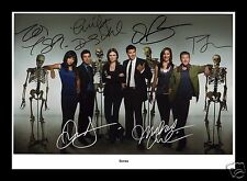 BONES CAST OF 6 AUTOGRAPHED SIGNED AND FRAMED PP PHOTO POSTER