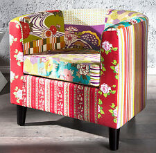 Armchair Club Chair Patchwork Retro Patchy Design Furniture Multicoloured New