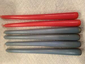"Vintage Lot of 6 Pink & Blue 10"" Taper Candles"
