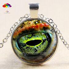 Vintage Cabochon Tibetan Silver Glass snake eye Chain Pendant Necklace zqd68