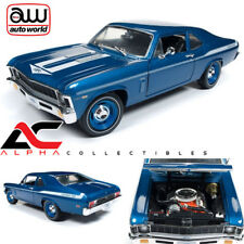 "AUTOWORLD AMM1135 1:18 1969 CHEVROLET NOVA 427 ""YENKO"" LEMANS BLUE WHITE STRIPE"