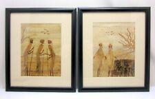 African Marquetry Folk Art Framed - 2 Pieces