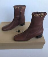 Gorgeous NWB! Auth. Prada/Car Shoe Brown Ankle Boots. Size 40.5