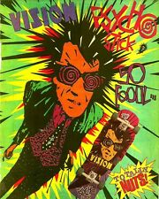 "2.5x3.25"" Vintage 1980's VISION PSYCHO STICK! Skateboard ad sticker / decal"