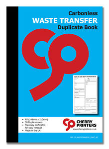 Cherry NCR Waste Transfer (WTN) Duplicate Book A5 (148mm x 210mm) 50 sets
