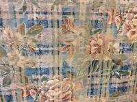 4.10m Blue Green Dusky Pink Floral Jacquard Flame Retardant Upholstery Fabric