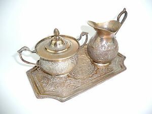 The Core Of Persia Um 1900 Tray Sugar Bowl Jug B-85