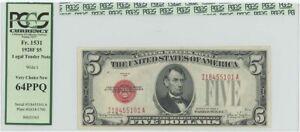 1928F $5 Legal Tender FR#1531 PCGS 64 Very CH PPQ Wide I