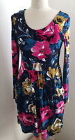 Joe Browns Navy Mix Floral Print Midi Dress With Pockets Size 12
