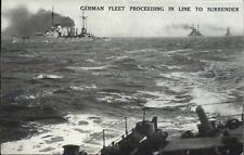 WWI Surrender of German Navy Fleet Proceeding in Line Postcard c1918