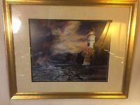 "Print Lighthouse&Stormy Night ""J.Wikka"" ""25""X31"".C12pix4size&details. MAKE OFFER"