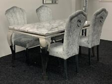 Louis Grey Marble Dining Table + 4 Silver Crush Velvet Dining Chairs - Save £££