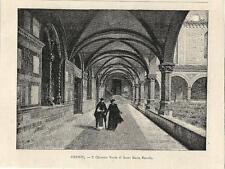 Stampa antica FIRENZE Santa Maria Novella Chiostro Verde 1892 Old print Florence
