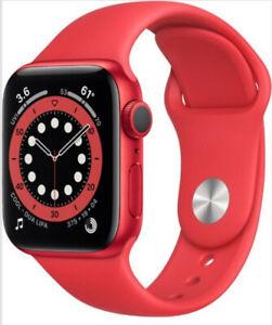 NEW Apple Watch Series 6 40mm Aluminum Case Red Sport Band Smart Watch M00A3LLA