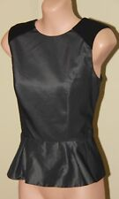 Womens Black and Metal Grey Peplum Top - Cue - Size 10