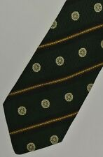 "Green & Gold Striped ALESSANDRO MAGNO Silk Tie. 3.5"" Wide. 58"" Long."