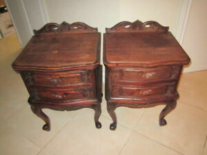 VINTAGE  ANTIQUE FRENCH PROVINCIAL NIGHTSTAND END TABLES WOOD SET OF TWO  1900s