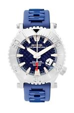 Sub Chrono Luxury Watch Diving Blue Swiss Ronda Leather & Silicone Band