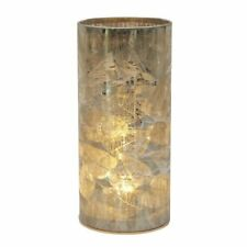 Rustic Style Autumn Leaves Gold Cylinder Table Side Modern LED Lamp Battery