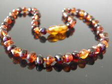 32-33 cm Genuine Baltic Amber Necklace - Knotted Beads, Cognac - Cherry Colours