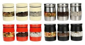 Set of 3 Canisters Jars Pot With Lid Kitchen Storage Tea Coffee Sugar Food Spice