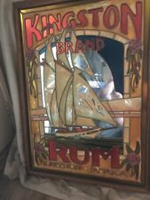 Vintage Mirror Kingston Rum Jamaica Stainglass Bar Sign Stain Glass Pirate