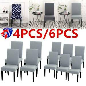 4/6PCS Dining Chair Seat Cover Stretch Slip New Removable Party Banquet Wedding.
