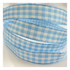 10mm COLOURFUL GINGHAM RIBBON : 12 COLOURS : TARTAN CHEQUERED JAM MAKING CRAFTS