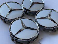 4x Mercedes Benz Silber Glänzend Grau Rad Naben Kappen Deckel Emblem Cap