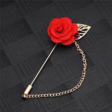 New Red Lace Rose Love Flower Leaf Lapel Brooch Pin Unisex Casual Free Gift Bag