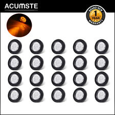 """20x 2"""" Round Led Marker Light 9 Diodes w/ Reflector Clear/Amber Grommet/Pigtail"""