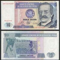 PERU 10 Intis, 1987, P-129, Ricardo Palma/Cotton Workers, UNC World Currency