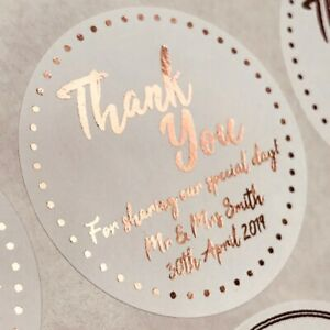 35MM WHITE ROUND PERSONALISED ROSE GOLD FOIL THANK YOU WEDDING LABELS STICKERS